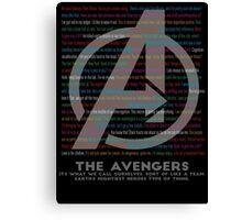 Avengers quotes Canvas Print
