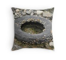 Old barnacled wheel Throw Pillow
