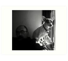 Jake with Petey at Window Art Print