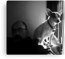 Jake with Petey at Window Canvas Print
