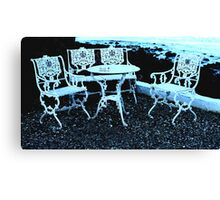 Private  party for four in blue  Canvas Print