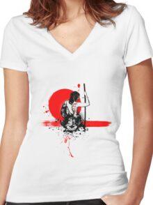 Trash Polka - Female Samurai Women's Fitted V-Neck T-Shirt