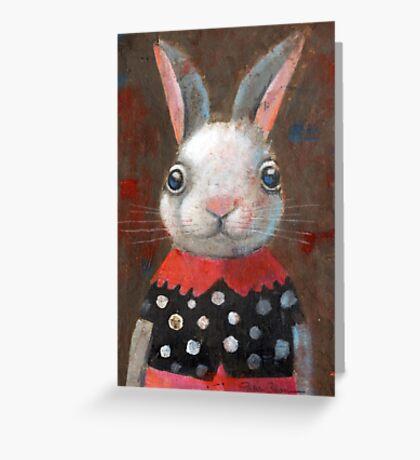 White Rabbit Girl Greeting Card