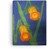 Yellow Daffodils on Blue Canvas Print