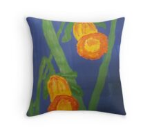 Yellow Daffodils on Blue Throw Pillow