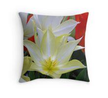 White & Yellow Tulips Throw Pillow