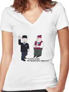 Mr Benn and the Shopkeeper Women's Fitted V-Neck T-Shirt
