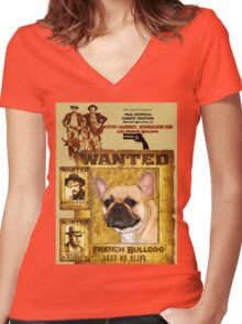 French Bulldog Art - Butch Cassidy and the Sundance Kid Movie Poster Women's Fitted V-Neck T-Shirt