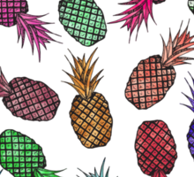 Hawaiian Pineapple Watercolor Pattern Sticker