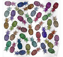 Hawaiian Pineapple Watercolor Pattern Poster