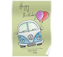 Happy Birthday Camper Van with Balloons Poster