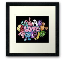 Doodle love - Colors /Black Background Framed Print