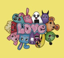 Doodle love - Colors /Black Background One Piece - Short Sleeve