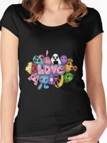 Doodle love - Colors /Black Background Women's Fitted Scoop T-Shirt