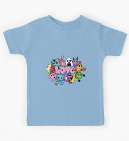 Doodle love - Colors /Black Background Kids Tee