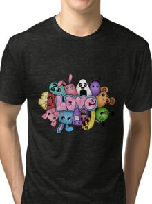 Doodle love - Colors /Black Background Tri-blend T-Shirt