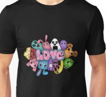 Doodle love - Colors /Black Background Unisex T-Shirt