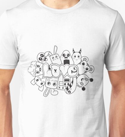 Doodle Love /Black and White Unisex T-Shirt