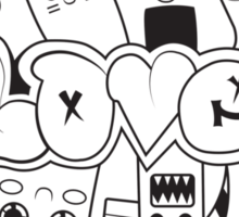 Doodle Love /Black and White Sticker