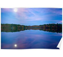 Green Falls Pond Moonrise Poster