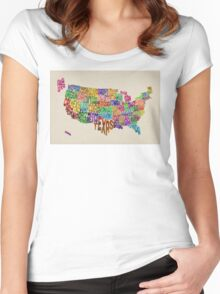 United States Typography Text Map Women's Fitted Scoop T-Shirt