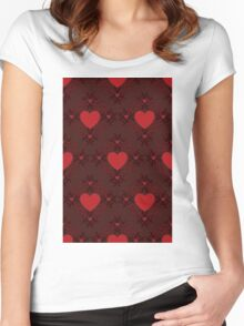 Red hearts pattern on dark background Women's Fitted Scoop T-Shirt