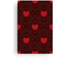 Red hearts pattern on dark background Canvas Print