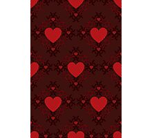Red hearts pattern on dark background Photographic Print
