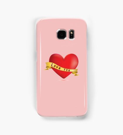 Red hearts with ribbon Samsung Galaxy Case/Skin