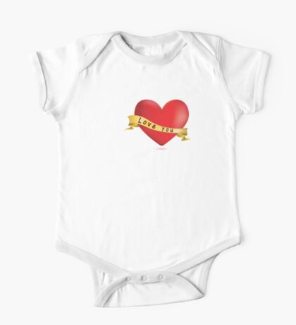 Red hearts with ribbon One Piece - Short Sleeve