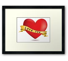 Red hearts with ribbon Framed Print