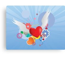 Red heart with angel wings Canvas Print