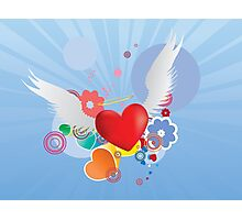 Red heart with angel wings Photographic Print