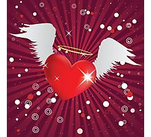 Shiny heart with angel wings Photographic Print
