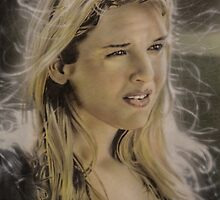 Airbrush Portrait - Renee Zellweger by Janne Flinck