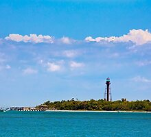 Sanibel LIghthouse and Pier by Kenneth Keifer