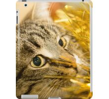 Tabby Cat and Yellow Tinsel 6 iPad Case/Skin
