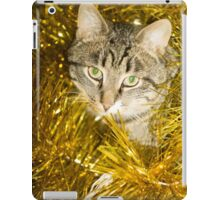Tabby Cat and Yellow Tinsel 9 iPad Case/Skin