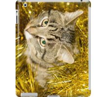 Tabby Cat and Yellow Tinsel 10 iPad Case/Skin