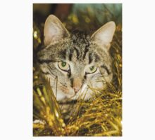 Tabby Cat and Yellow Tinsel 11 T-Shirt