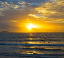 yellow sunset rays from beal beach by morrbyte