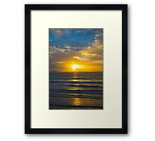 yellow sunset rays from beal beach Framed Print