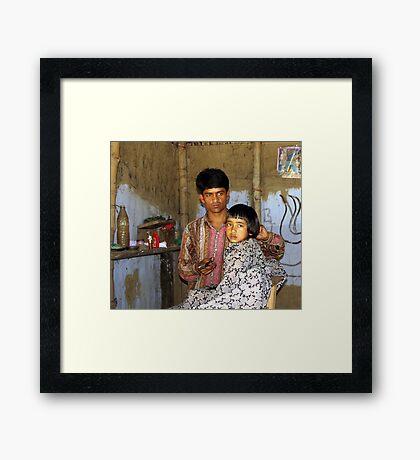 Assamese barber shop Framed Print