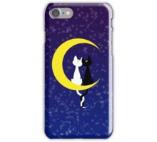 Cats in love on the moon iPhone Case/Skin