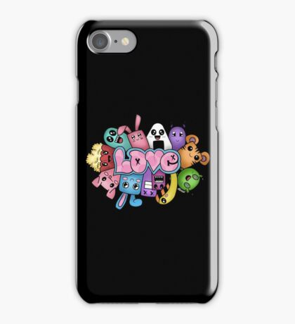 Doodle love - Colors /Black Background iPhone Case/Skin