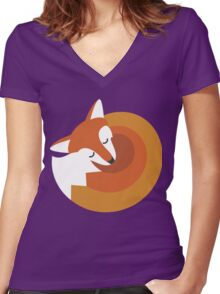 Sleeping Fox (Hounds Off) Women's Fitted V-Neck T-Shirt