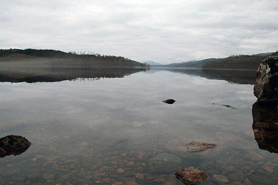 Dull Morning Loch Garry by Alexander Mcrobbie-Munro
