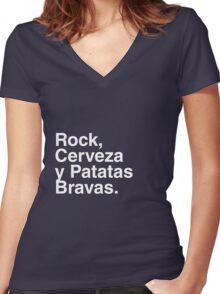 Rock, Cerveza y Patatas Bravas. Women's Fitted V-Neck T-Shirt