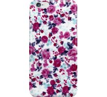 Girly Pretty Pink and Blue Floral Print Pattern iPhone Case/Skin