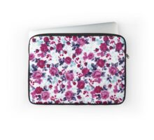 Girly Pretty Pink and Blue Floral Print Pattern Laptop Sleeve